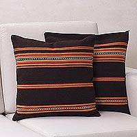 Alpaca blend cushion covers, 'Quechua Girl' (pair) - Unique Peruvian Wool-Blend Cushion Covers (Pair)