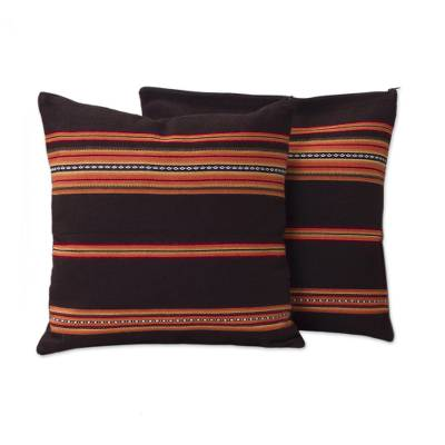Alpaca blend cushion covers, 'Quechua Girl' (pair) - Handwoven Brown and Orange Cushion Covers (Pair)