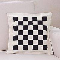 Wool cushion cover, 'Chess' - Handwoven Black and Ivory Chessboard Cushion Cover