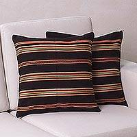 Alpaca blend cushion covers, 'Andean Earth' (pair) - Handwoven Brown and Orange Cushion Covers (Pair)