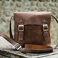 Men's leather messenger bag, 'Explorer' - Mens Brown Leather Messenger Bag