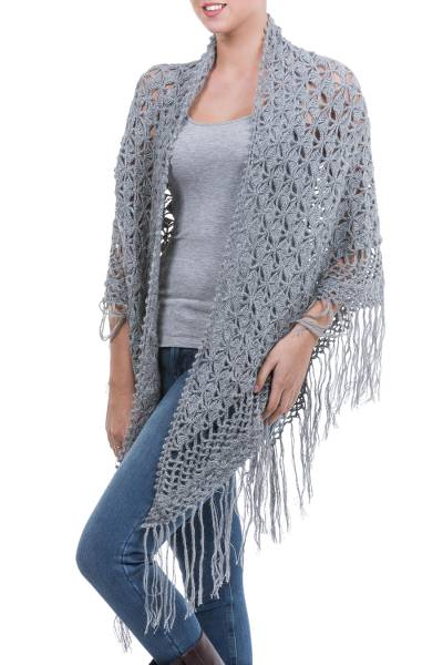 100% alpaca shawl, 'Grey Hills' - Hand Crocheted Grey Alpaca Wool Shawl