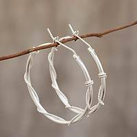 Sterling silver hoop earrings, 'Goddess of Health' - Sleek Handcrafted Sterling Silver Hoop Earrings