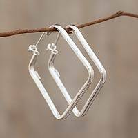 Sterling silver hoop earrings, 'Goddess of Fertility' - Modern Handmade Silver Hoop Earrings