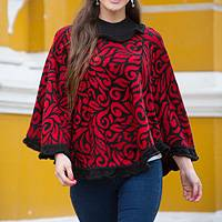 Alpaca blend poncho, 'Scarlet Foliage' - Red and Black Turtleneck Alpaca Blend Poncho with Lace