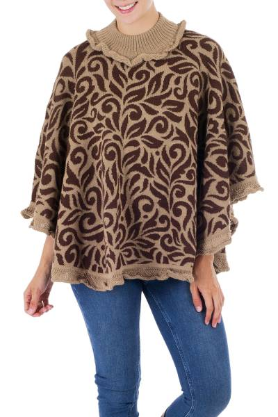Tan and Brown Turtleneck Alpaca Blend Poncho with Lace