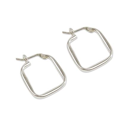 Sterling silver hoop earrings, 'Goddess of the Lakes' - Sterling Silver Squared Modern Hoop Earrings