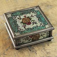 Reverse painted glass box, 'Vintage Blossom'