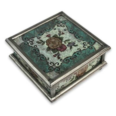 Reverse painted glass box, 'Vintage Blossom' - Andean Reverse Painted Glass Box with Flowers