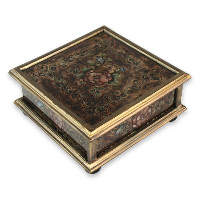 Reverse painted glass box, 'Coffee Blossom' - Andean Reverse Painted Glass Box in Brown with Golden Trim