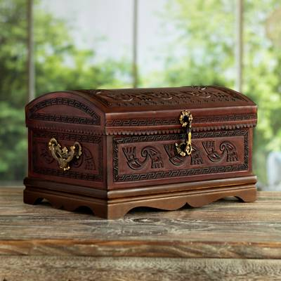 Mohena wood and leather jewelry box, 'Dark Inca Sea' - Dark Brown Leather Jewelry Chest from Peru