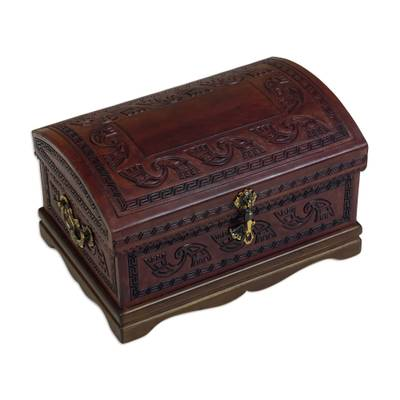 Mohena wood and leather jewelry box, 'Dark Inca Sea' - Dark Brown Leather jewellery Chest from Peru