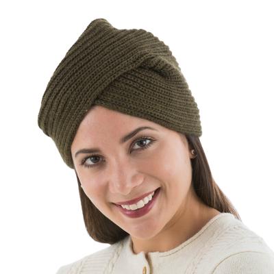 Alpaca Blend Olive Green Turban Hat from Peru