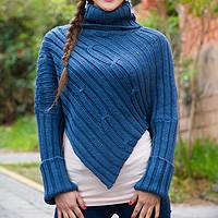 Alpaca blend sweater poncho, 'Cuzco Sky' - Blue Alpaca Blend Sweater Poncho from Peru