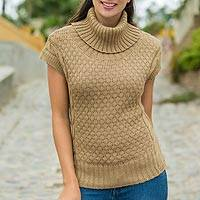 Alpaca blend short-sleeve sweater, 'Icas Coquette' - Sand Beige Alpaca Blend Turtleneck Sweater