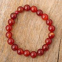 Carnelian and ceramic stretch bracelet, 'Peruvian Passion'