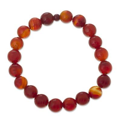 Carnelian and ceramic stretch bracelet, 'Peruvian Passion' - Handmade Carnelian Stretch Bracelet