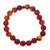 Carnelian and ceramic stretch bracelet, 'Peruvian Passion' - Handmade Carnelian Stretch Bracelet thumbail