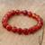 Carnelian and ceramic stretch bracelet, 'Peruvian Passion' - Handmade Carnelian Stretch Bracelet (image p221821) thumbail