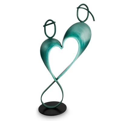 Steel and cotton sculpture, 'Infinite Love' - Heart Shaped Blue Metal Sculpture from Peru