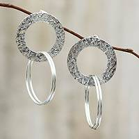 Sterling silver dangle earrings, 'Halo of Light'