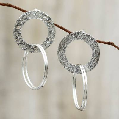 Sterling silver dangle earrings, 'Halo of Light' - Handcrafted Sterling Earrings from Peru
