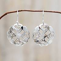 Sterling silver dangle earrings, 'Hearts and Flowers' - Handcrafted SIlver Earrings from Peru
