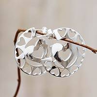 Sterling silver half hoop earrings, 'Happy Hearts' - Andean Silver Heart Earrings