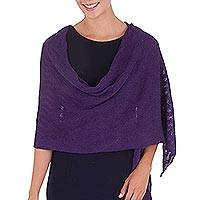 100% alpaca shawl, 'Grape Zigzag' - Women's Purple Alpaca Wool Shawl