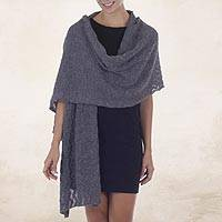 100% alpaca shawl, 'Gray Zigzag' - Women's Gray Alpaca Wool Shawl