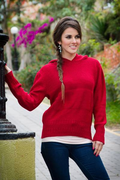 100% alpaca hoodie sweater, 'Arequipa Red' - Red Alpaca Hoodie Sweater