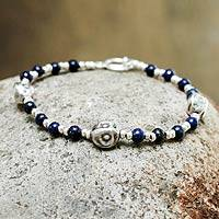 Lapis lazuli beaded bracelet, 'Modern Moche' - Silver and Lapis Beaded Bracelet