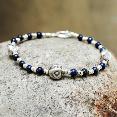 Lapis lazuli beaded bracelet, 'Modern Moche' - Andes Silver and Lapis Bracelet
