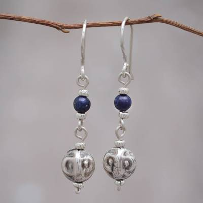Lapis lazuli dangle earrings, 'Modern Moche' - Andes Silver and Lapis Earrings