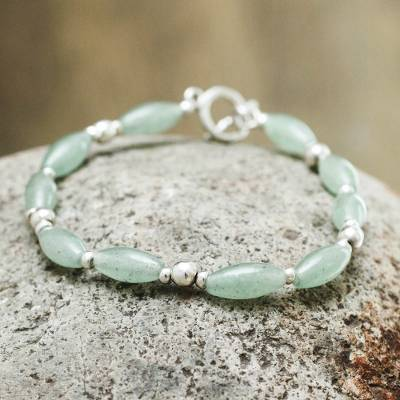 Aventurine beaded bracelet, 'Hope' - Andes Silver and Aventurine Bracelet