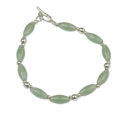 Aventurine beaded bracelet, 'Hope' - Andes Silver and Aventurine Bracelet