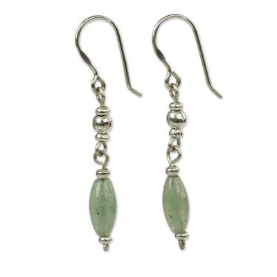 Aventurine dangle earrings, 'Hope' - Andes Silver and Aventurine Earrings
