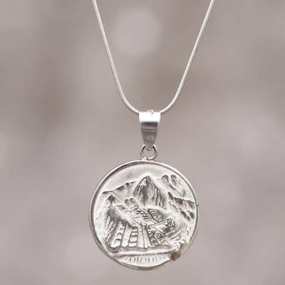 Silver pendant necklace, 'Mountain Refuge' - Peru Artisan Made Silver Necklace