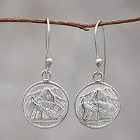 Silver dangle earrings, 'Mountain Refuge' - Peru Artisan Made Silver 950 Earrings