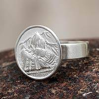 Silver cocktail ring, 'Mountain Refuge' - Peru Artisan Made Silver 950 Ring
