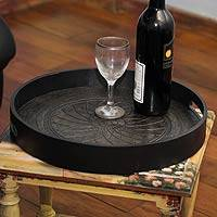 Wood and leather serving tray, 'Black Andean Lotus' - Circular Tooled Leather Serving Tray