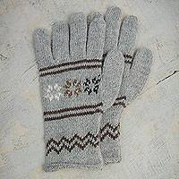 Alpaca blend gloves, 'Misty Clouds' - Alpaca and Wool Blend Grey Patterned Gloves from Peru