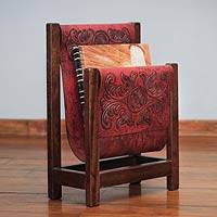 Leather and cedarwood magazine rack, 'Historic Elegance in Red' - Handcrafted Leather and Cedar Wood Magazine Rack