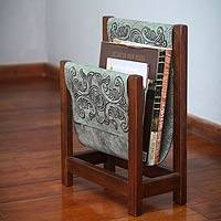 Leather and cedarwood magazine rack, 'Historic Elegance in Green' - Handcrafted Leather and Cedar Wood Magazine Rack