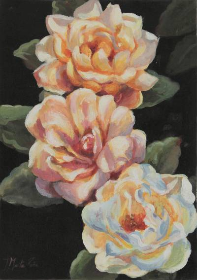 'When the Rain Comes' - Oil on Canvas Painting of Roses
