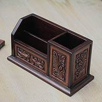 Cedar and leather desk organizer, 'Andean Tradition' - Hand Tooled Brown Leather Desk Organizer