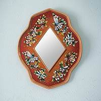 Reverse painted glass mirror, 'Orange Summer Garden' - Peruvian Floral Reverse Painted Mirror