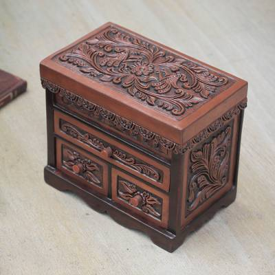 Cedar and leather jewelry box, 'Avian Haven' (large) - Bird Theme Hand Tooled Brown Leather Jewelry Box