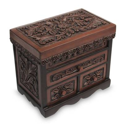 Cedar and leather jewelry box, 'Avian Haven' (large) - Bird Theme Hand Tooled Brown Leather jewellery Box