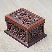 Cedar and leather jewelry box, 'Condor' - Leather Jewelry Box